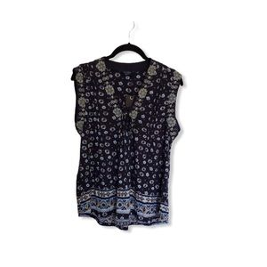NWT Lucky Brand Floral Lace-up Tank Blouse
